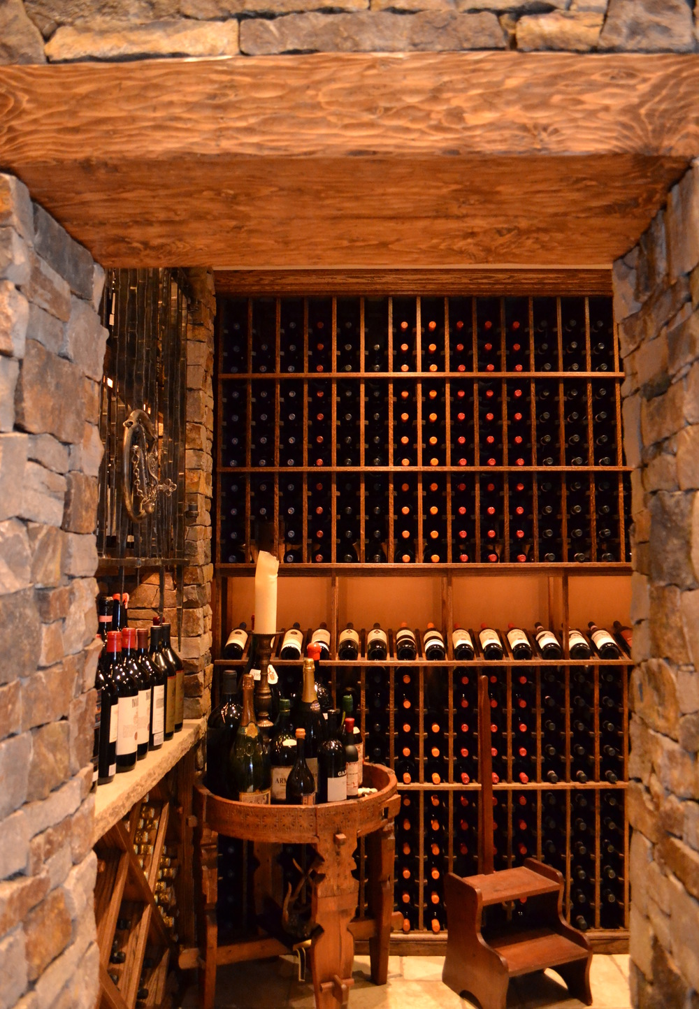 Stone and wood custom wine cellar