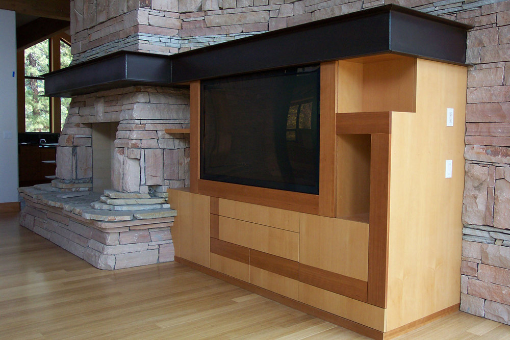 modern custom maple entertainment center