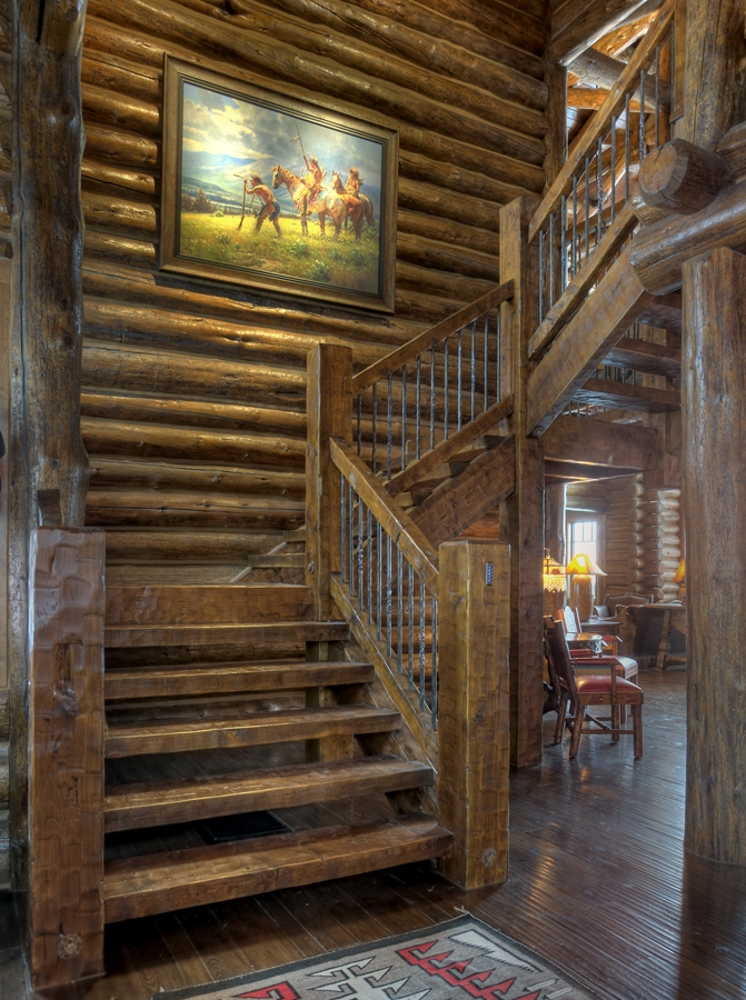 custom rustic wood staircase