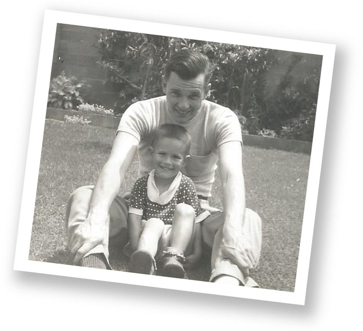 Author Clay Sigg, at 3 years of age, with his father Robert Sigg.