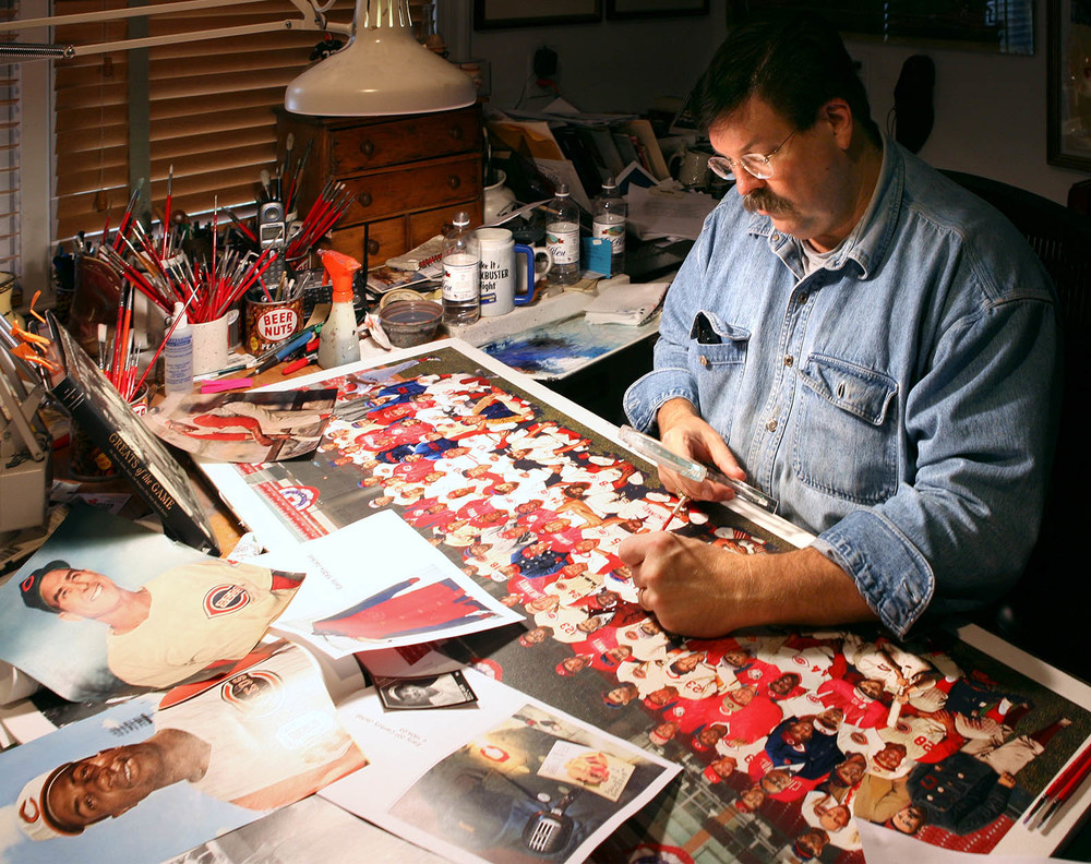 Artist, Bill Purdom, working on the Hometown Heroes cover illustration.