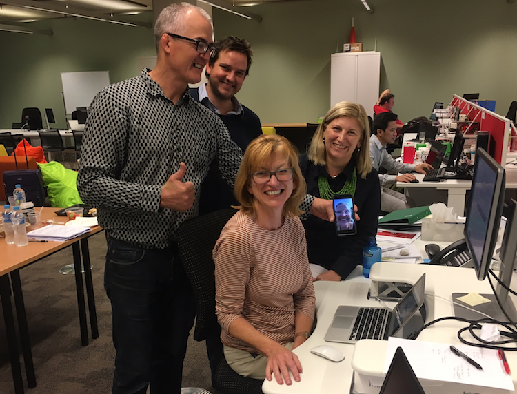 The Food Agility team hit submit. Left to right: Mike Briers, David Tomlins, Leonie Hellmers, Bronwyn Harch and, via FaceTime, Mara Bun.