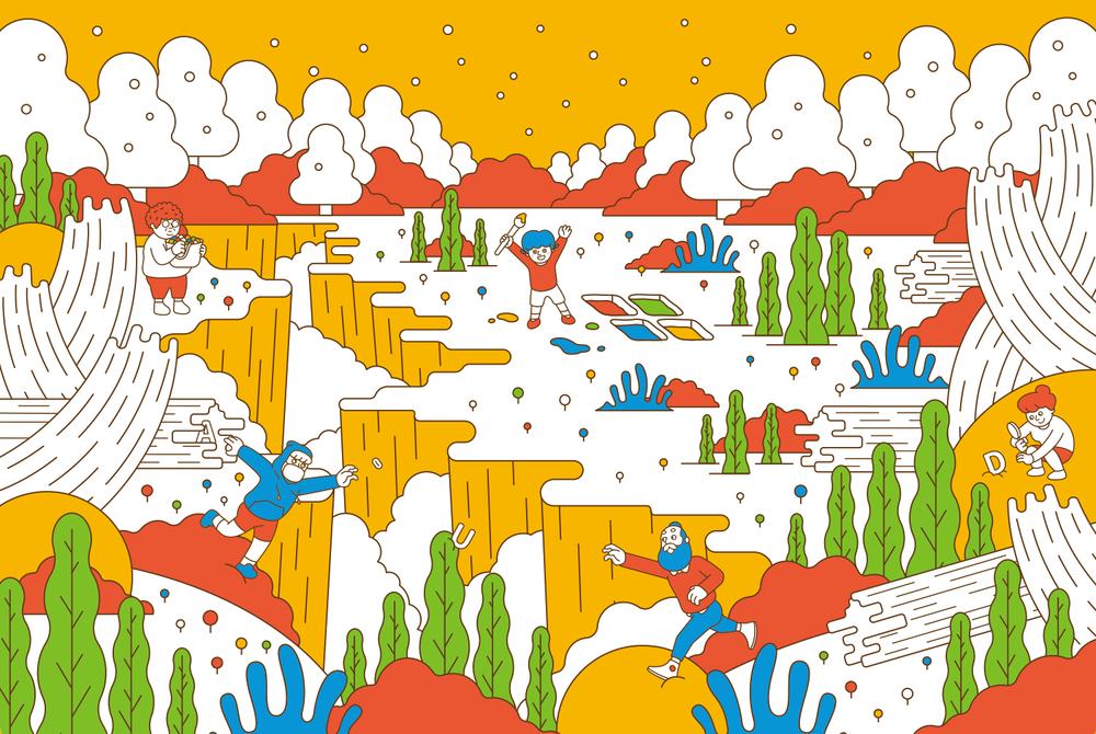 AUD為微軟Surface創作的聯名插畫設計