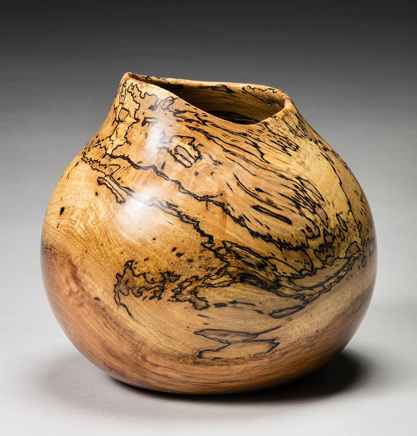 """Spalted Pecan Pot"" #071017 by Gene Sparling (c)"