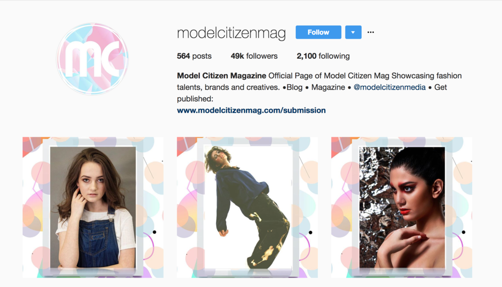 MODEL CITIZEN MAGAZINE - FEATURES MARSANNE BRANDS (PICTURED IN MIDDLE OF INSTAGRAM FEED)