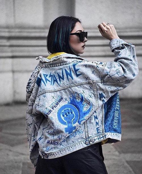 ef0e504318fdc7 denim jacket marsanne brands artistic streetwear cool denim unique denim  handpainted jacket lgbtq denim jacket feminist