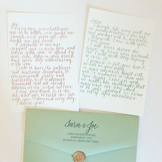 I told myself I would be better at sharing my work with you guys, like 16484939 times. Well here it is, a sweet Christmas gift for the bride of their wedding vows written out! ❤️ #moderncalligraphy #waxseal #annapoliscalligrapher #calligraphy #copperandsage #weddingvows