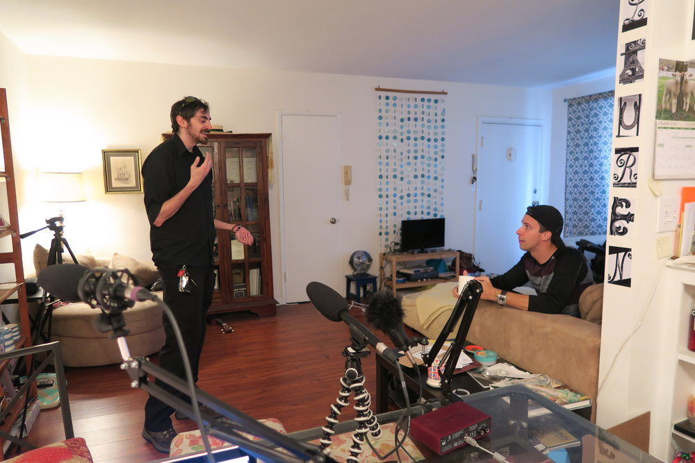 Mischa and Briggon hanging out before recording in one of our more unique set-ups.