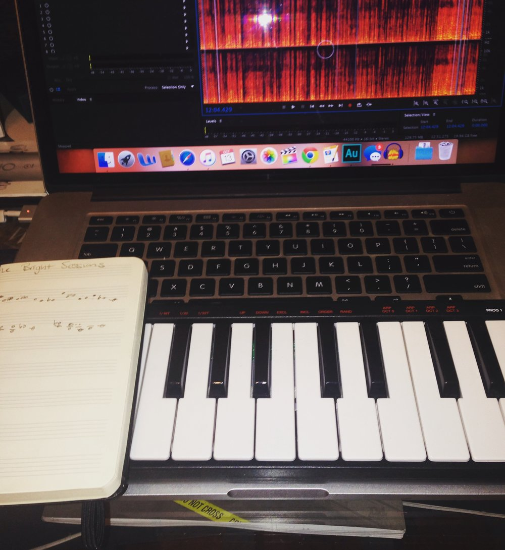 How the original theme was composed - a little USB keyboard and garageband.