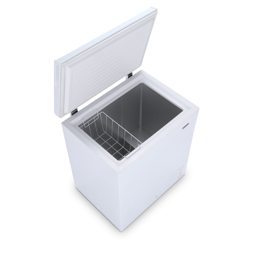 This freezer is from Lowes and is $168.00 it is 32 inches high, 22 inches deep and 28 inches wide.  It holds 5 cubic feet of product.  This would be a great option if you have a small space to keep it in.