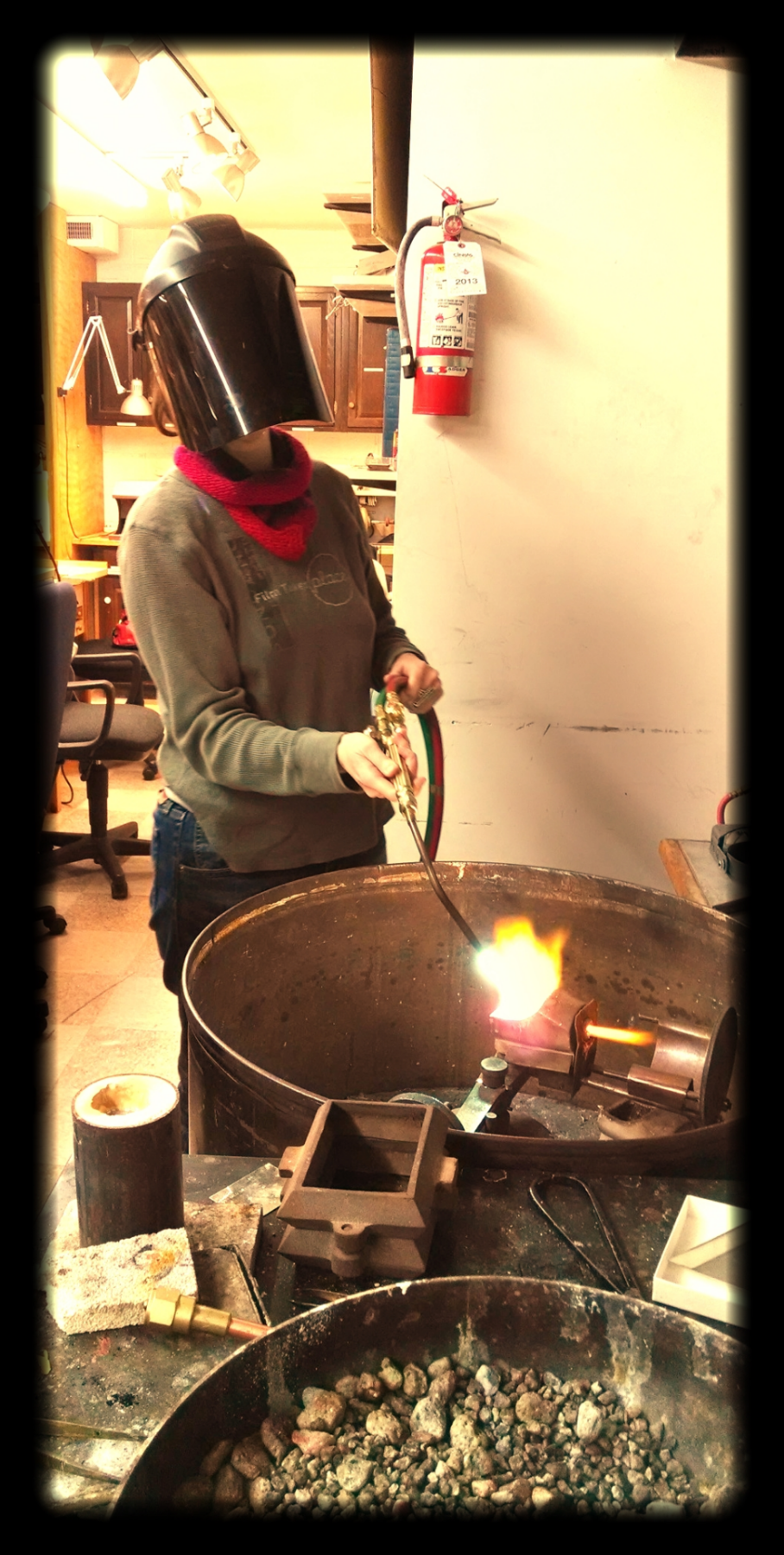 Alchemy in action.  Liz with the big torch.