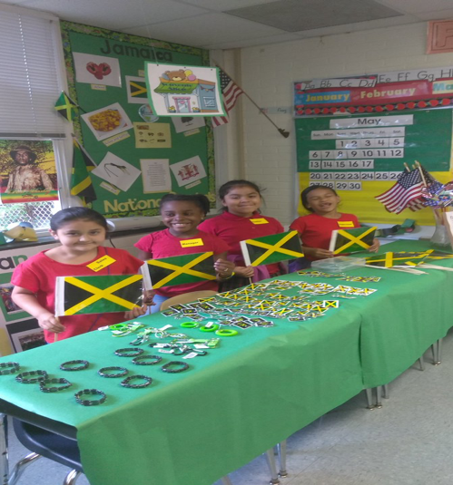 Ava's students learning about Jamaican culture.