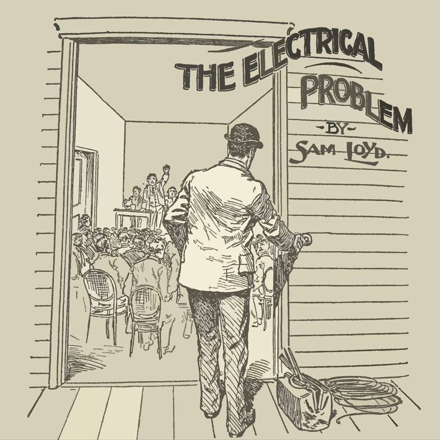 What is the shortest path for the wire?  - During a recent county political convention, an electrician was hired to install an annunciator at the back of the meeting hall. It was to be connected to a push button at the front door, so that the managers could notify the long-winded orators when to ring off. The length of wire required for this job was a topic of debate among the workmen, and the question was referred to me.The hall, as shown in the sketch on the left, was just 12 feet wide by 12 feet high, and 30 feet in length. The wire was to go from the annunciator, three feet from the ceiling at the center of the back wall, to a push button three feet from the floor at the center of the front wall. The wire can be strung along walls, ceiling, or floor. The problem is to determine the shortest possible route that the wire can take. The thickness of the wall at the push button need not be considered.This puzzle comes from the mathematical puzzles of Sam Loyd which is a registered trademark of The Sam Loyd Company and used with permission.