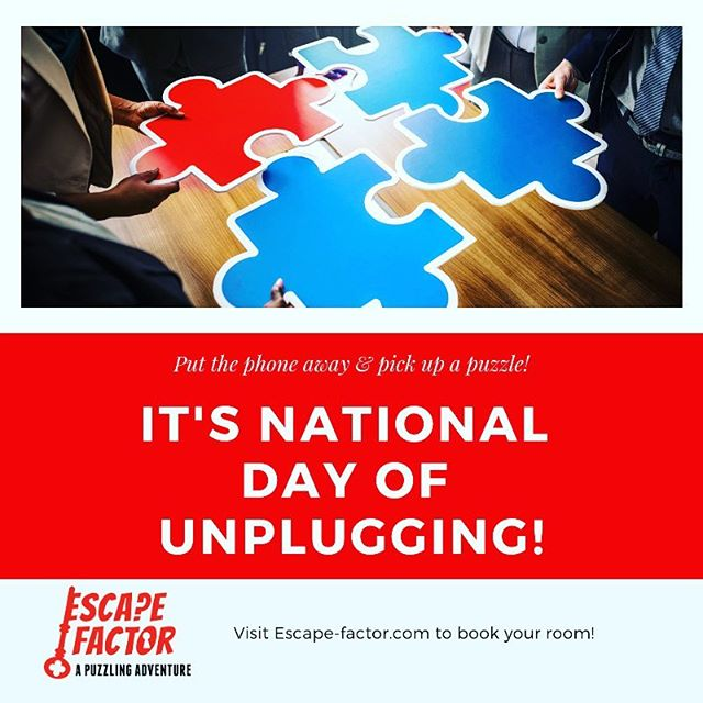 Did you know that this weekend people all around the county are celebrating the National Day of Unplugging? An escape room is a great way to put away the screens, and spend time with family and friends. So put Fortnite on pause, and plan a Tree House Raid at Fort Knocks.  Book at www.escape-factor.com, or give us a call: 708.943-7227  Find out more about unplugging here: www.nationaldayofunplugging.com