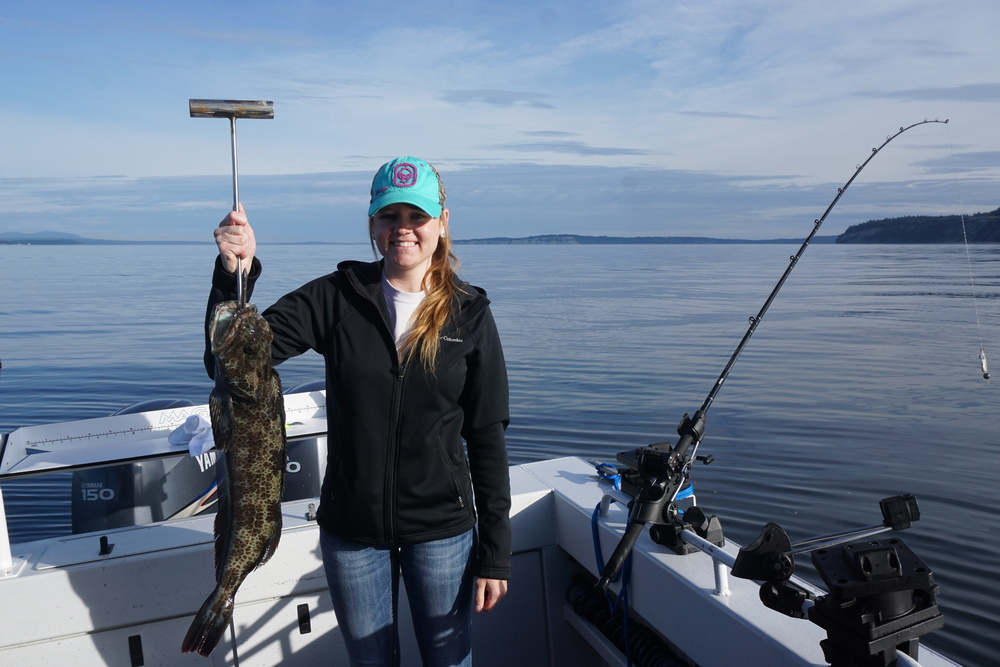 Lorrie with a super nice Lingcod on a beautiful day