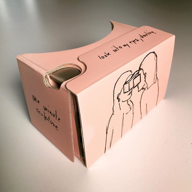 "As part of our Venice Biennale VR project, @artsy commissioned limited-edition cardboard VR viewers from two artists featured in the series and gave them away at @labiennale. This one's by @erwin.wurm, who made his cardboard into one of his ""one minute sculptures"". Get a friend and squash your faces together for a minute. Watch our VR piece on Erwin now, link to main series page in our bio. #erwinwurm #austrianpavilion #vr #virtualreality #360video #jumpcam #VRart #VRdocumentary #art #venice #venicebiennale #venicebiennale2017 #biennalearte2017 #vivaarteviva #scenicVR #artsy #googlevr #googlecardboard"