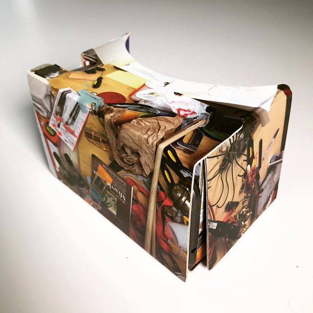 Here's the limited-edition cardboard created by artist Dawn Kasper, who covered it with photos of materials from her Nomadic Studio Project. Part of our VR series project with @artsy about the Venice Art Biennale. Watch the series now, link in our profile. #dawnkasper #vr #virtualreality #360video #jumpcam #VRart #VRdocumentary #art #venice #venicebiennale #venicebiennale2017 #biennalearte2017 #vivaarteviva #scenicVR #artsy #googlevr #googlecardboard