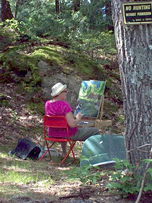 Claire at the easel.
