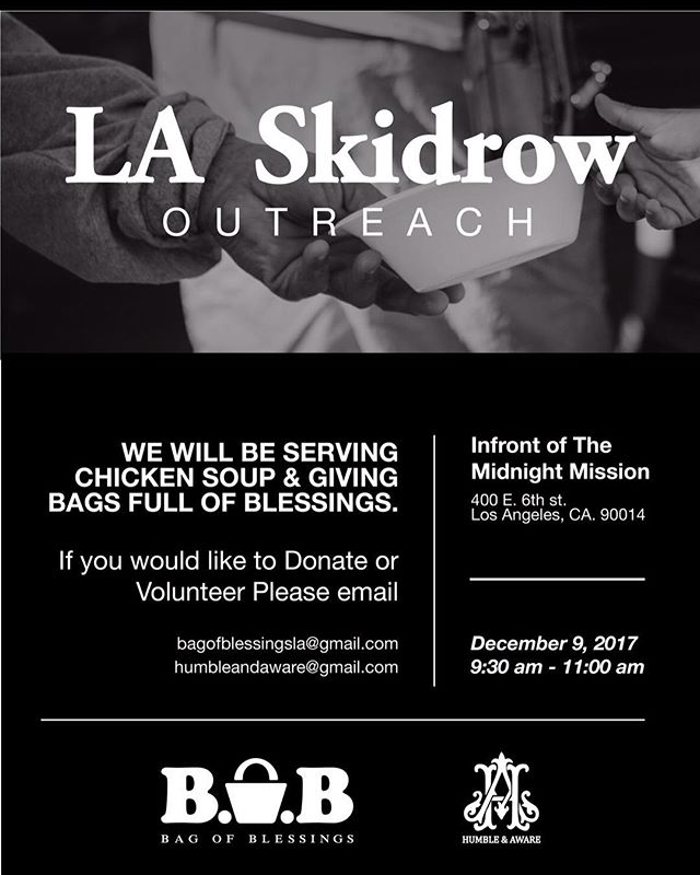 If you would like to join us on Dec 09, 2017 we'll be feeding the the homeless and handing out bags of blessings with @bagofblessingsla please send us a DM #stayhumble #humble #humbleandaware #givingbacktothecommunity #giveback #helping #helpingothers #artist #downtownlosangelesart #feedthehomeless #homeless #world #bethechange #changetheworld #art #dtla #Gameoftones #portrait #urbanart #city #streetart #urban #StreetDreamsMag  #homelessinlosangeles #photooftheday #streetphotography #artphotography #Abc7EyeWitness #charity #volunteer