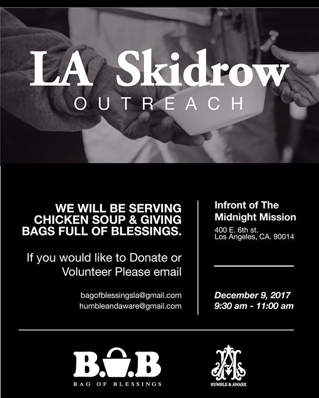 If you would like to join us on Dec 09, 2017 we'll be feeding the the homeless and handing out bags of blessings with @bagofblessingsla please send us a DM #stayhumble #humble #humbleandaware #givingbacktothecommunity #giveback #helping #helpingothers #artist #downtownlosangelesart #feedthehomeless #homeless #skidrow #bethechange #changetheworld #art #dtla #Gameoftones #portrait #urbanart #dtla #lovepeople #helpingthehomeless  #homelessinlosangeles #streetphotography #artphotography #Abc7EyeWitness #charity #volunteer