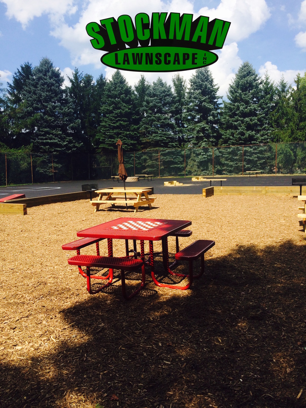 A custom recreational area built by Stockman Lawnscape.