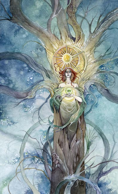 The Queen of Pentacles from the Shadowscapes deck
