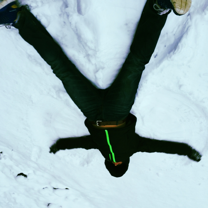 <Learning to make a snow angel. Canada, you turned 150 on 1 July. Happy Birthday.>