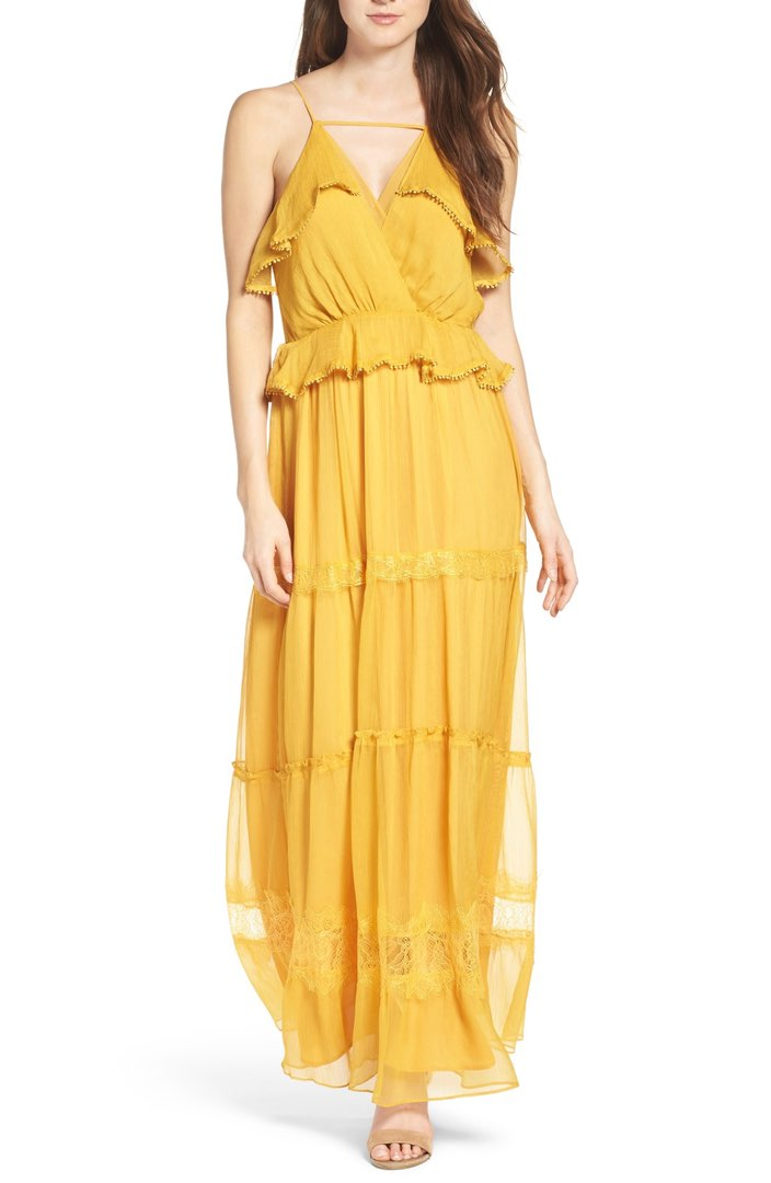 yellow maxidress with ruffles