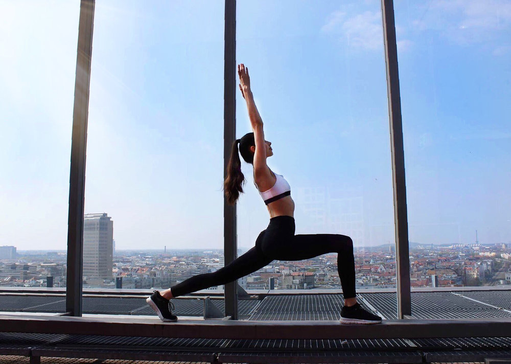 stretching rooftop fitness yoga