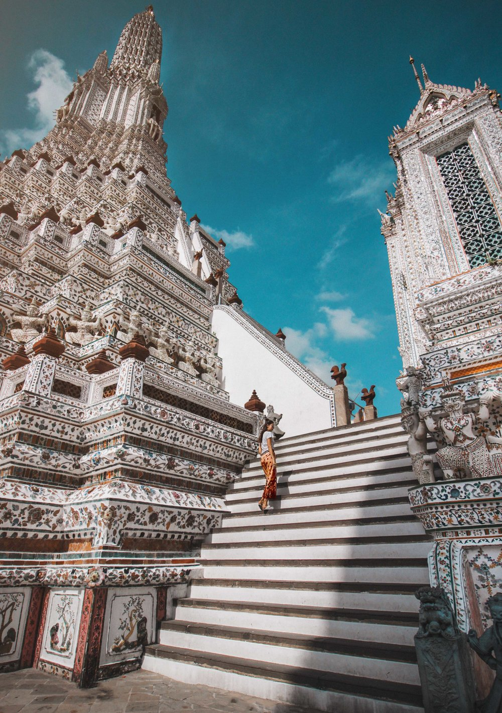 "Wat Arun, Bangkok - Taken with Camera, Tripod and Self-Timer on Burst mode (running up and down the stairs 20x till I get the perfect shot- also part of my "" stay fit, while traveling routine"")"