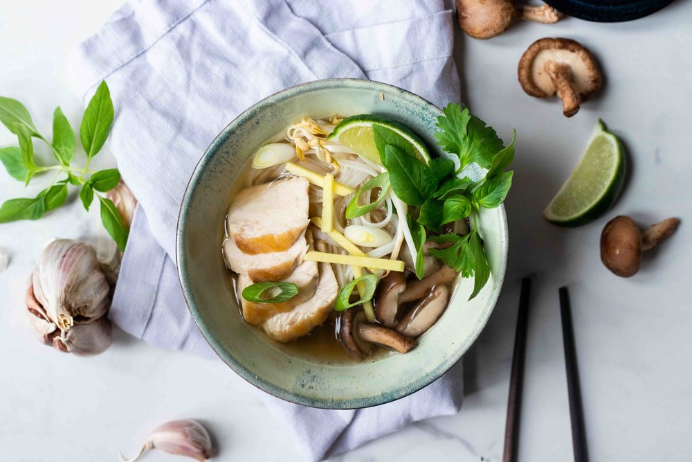 Chicken pho - food styling & photography