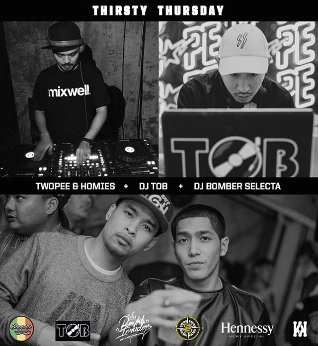 🔥TONIGHT🔥 @djtob and @twopeee are bringing @bomberselecta with them for a little #420 replay version of #ThirstyThursday!💨 Right here at @knock_bkk.