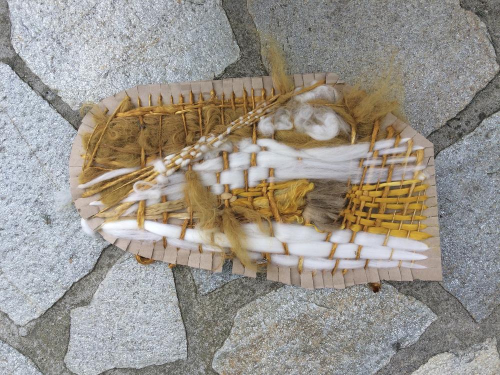 weaving on cardboard - front