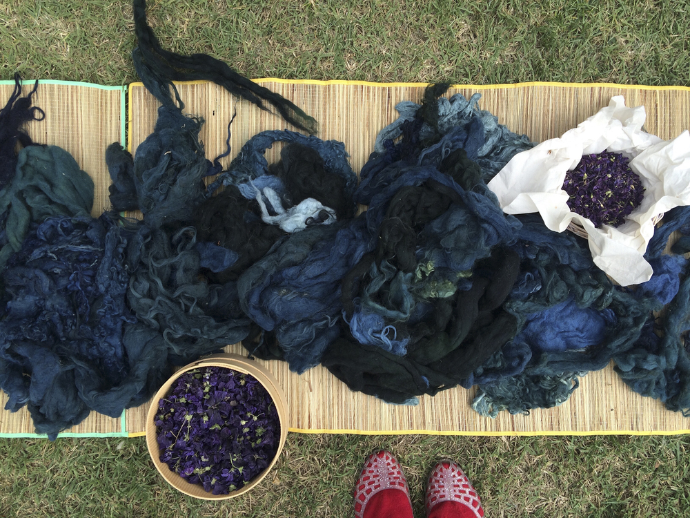 Blue from indigo, some some blue-grey from sunflower seed to the left