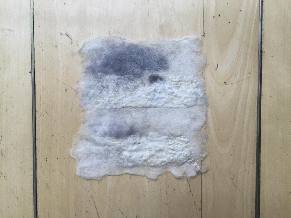 Foreground: white silk Background: white/grey wool