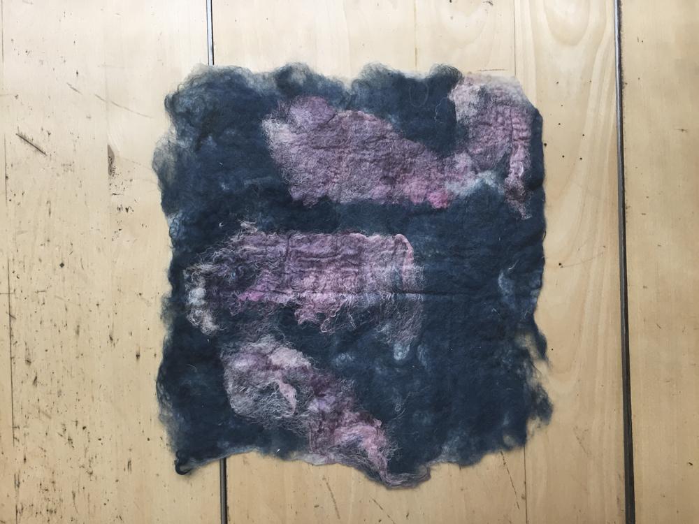 Foreground: pink silk + white wool Background: blue wool