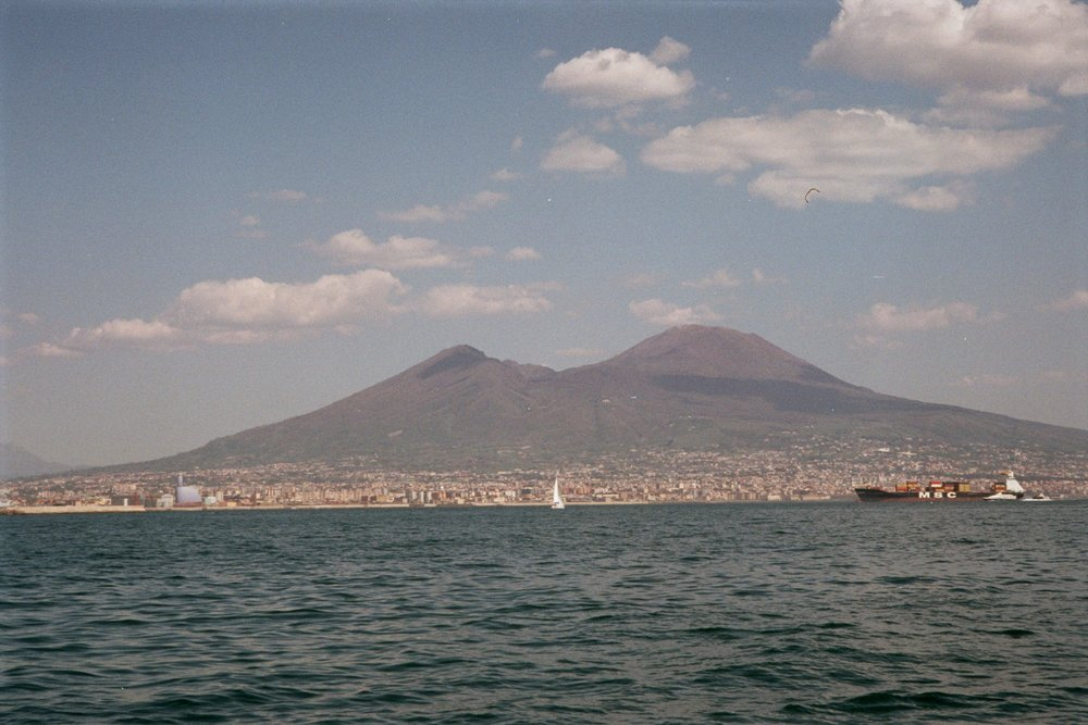 Naples (and mt vesuvius) from a distance.