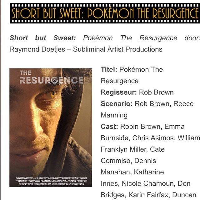 Our first film review has come in all the way from The Netherlands!! Head on over to our Facebook site @revolvingdoorproductions to have a read of the English translation!! Great Review to start us off! #filmreview #film #review #pokemon #fanfilm #anime #filmbuff #thenetherlands #europe #australia #actor #actress #acting #filmmaking #directing #writing @theresurgencemovie