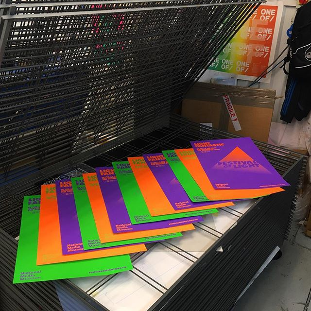 Hand Screenprinted posters made for the 2015 festival of light at the #nationalmediamuseum @sciencemuseum #design #print #printmaking #printspotters #screenprint #screenprinting #typography