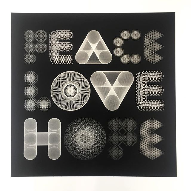 Peace, Love, Hope. Incredibly detailed limited edition print we recently made for @seblester available from his online shop #design #print #printspotters #screenprint #screenprinting #typography