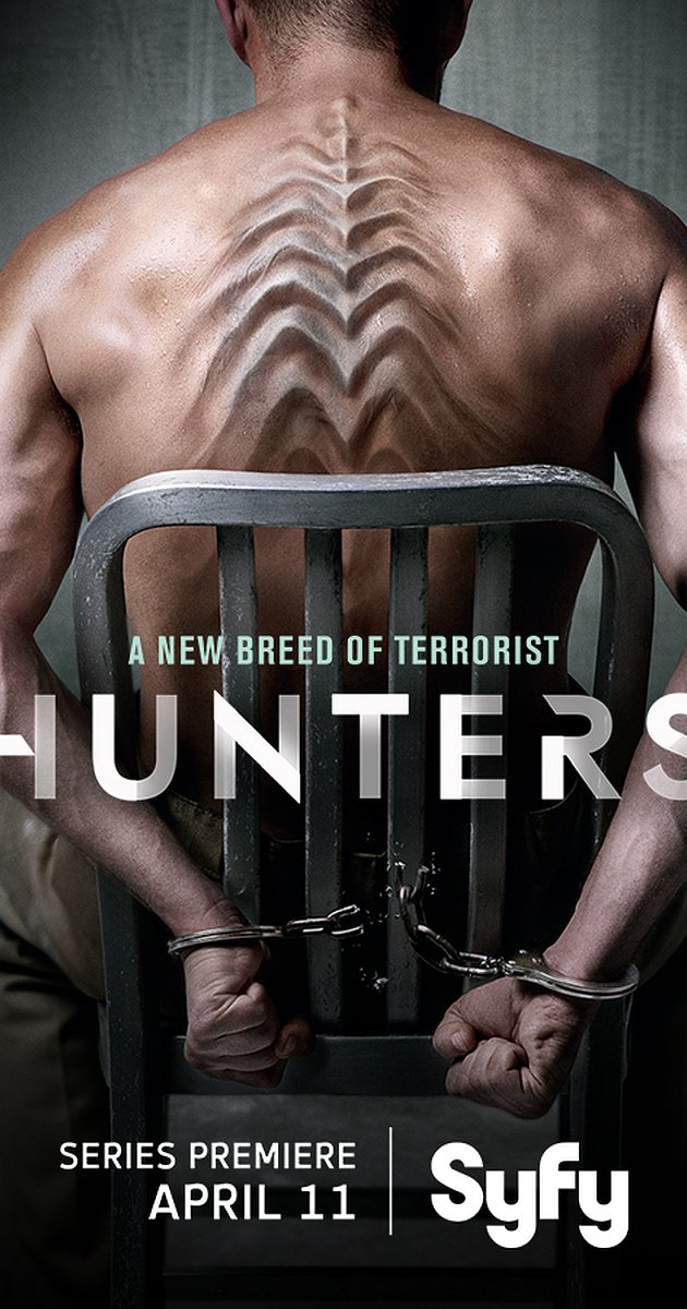 "Series premiere poster for ""Hunters."""