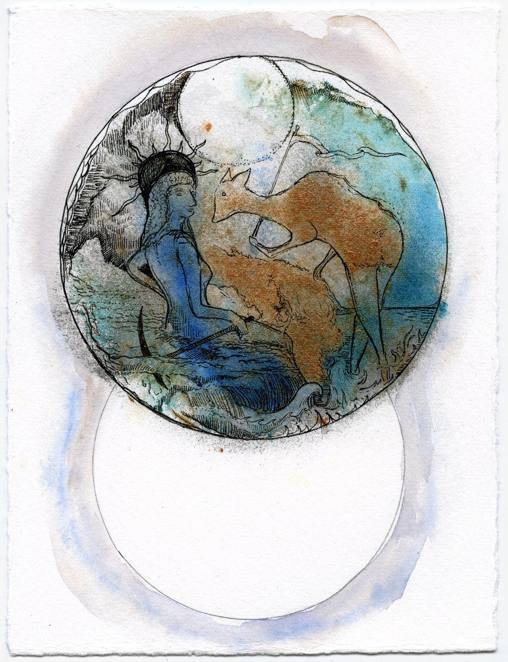 Max Razdow lunar demigoddess painting watercolor