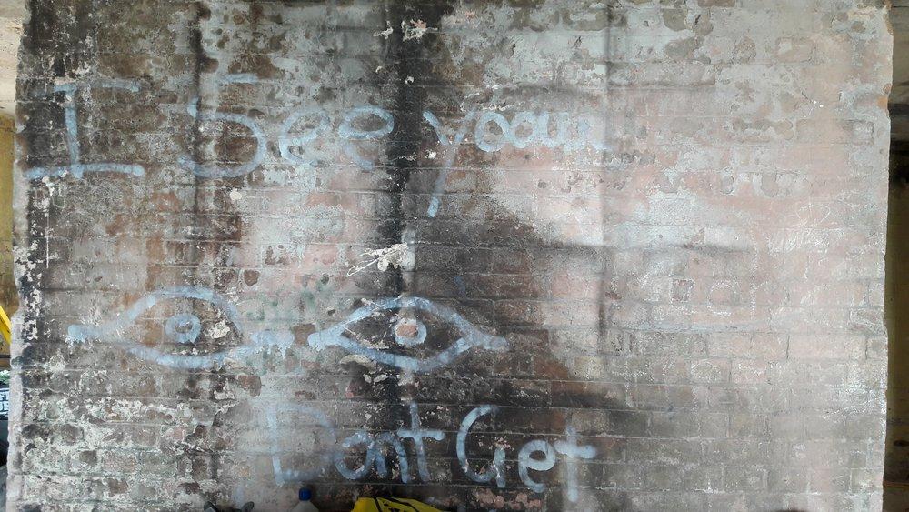 Graffiti covered wall