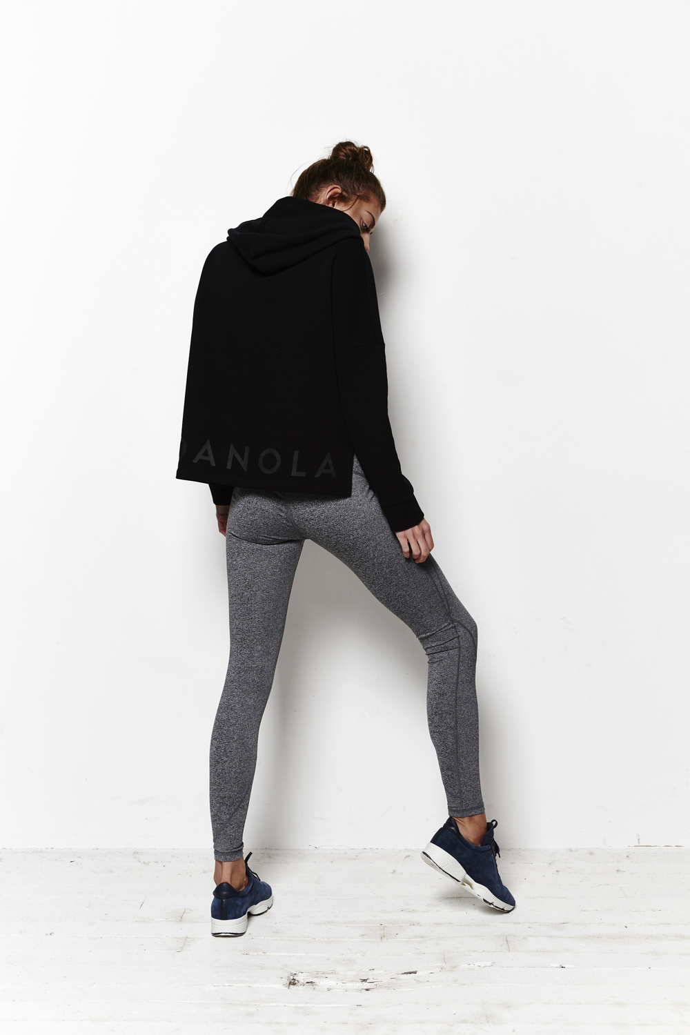 The ADANOLA Black on Black Hooded Sweat is a great option for running outdoors, or chilling pictured here with the Premium Active Leggings.