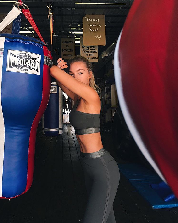 @georgiagibbs_ Georgia looks incredible post-boxing workout in her Classic Adanola Bra and Leggings in Olive.