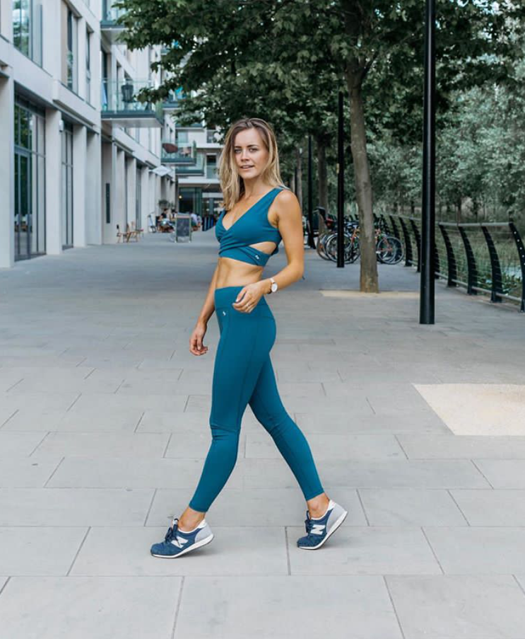 @theleanlawyer Alex matches the teal set with the Teal Wrap Around Bra and High Waist Leggings.
