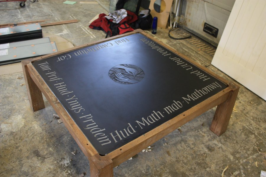 Slate and engraved Glass Table