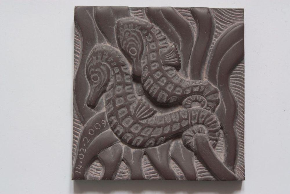 Seahorse tile slate 4 inch square
