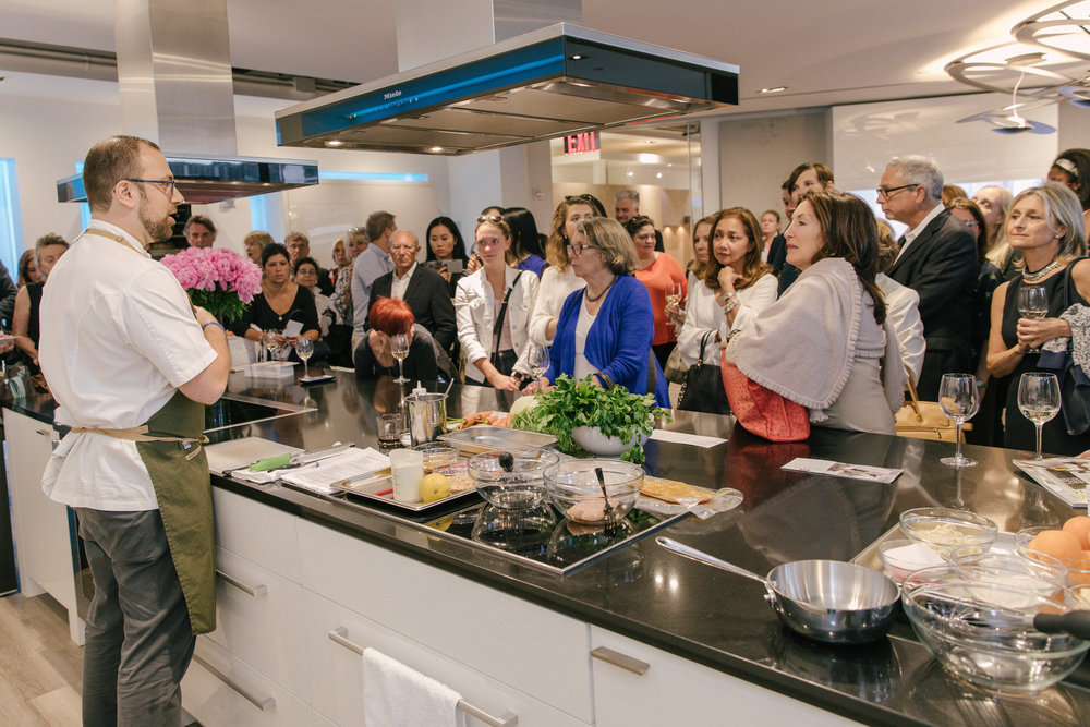 Chef David Kirschner provides at cooking demonstration at Miele