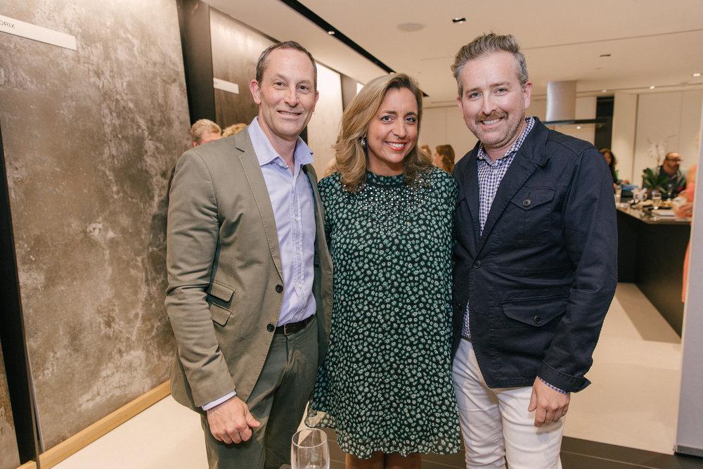 David Hamilton, Patty Dominguez, and Clinton Smith in the Cosentino showroom